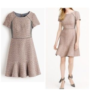 J. Crew Metallic mixed-tweed dress, pink tweed